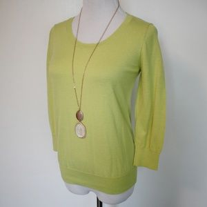 LOFT Small Sweater Lime Green Chartreuse